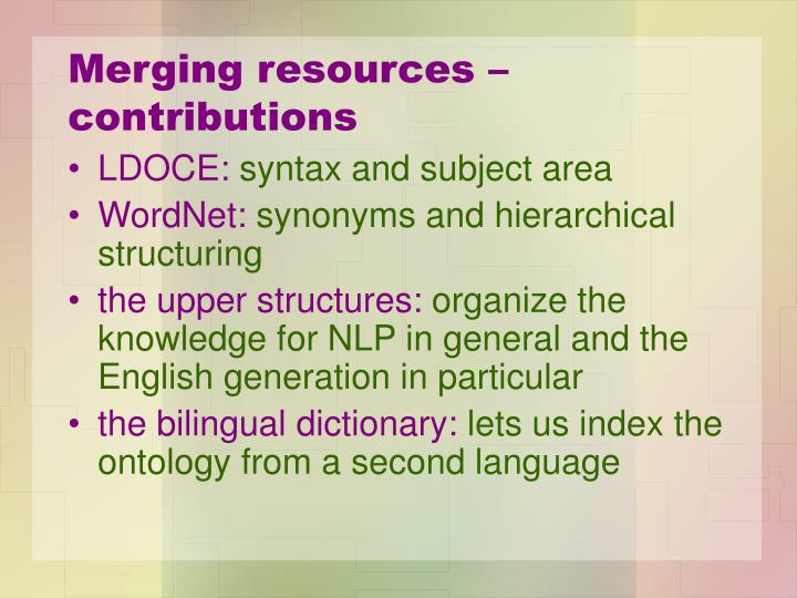 Merging resources – contributions