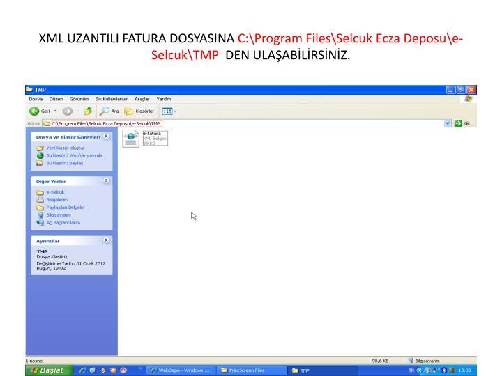 XML UZANTILI FATURA DOSYASINA