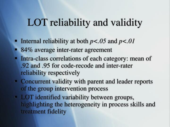 LOT reliability and validity