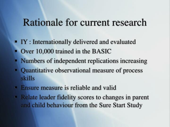 Rationale for current research
