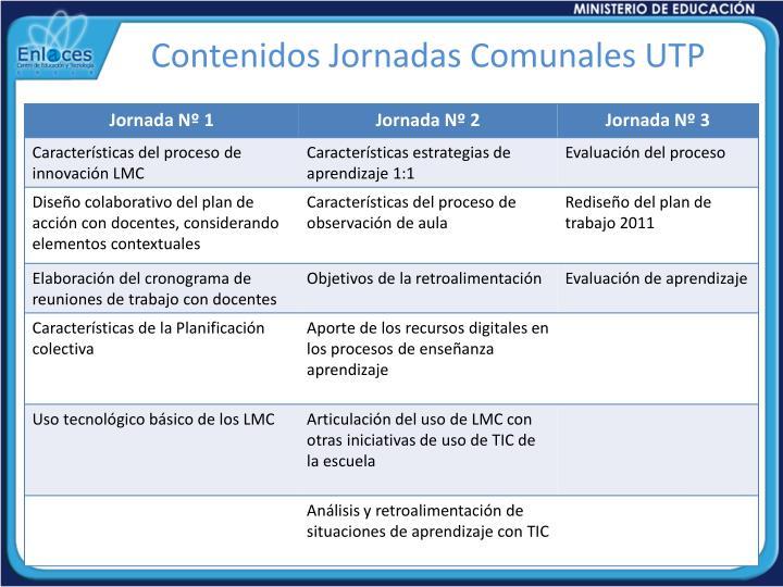 Contenidos Jornadas Comunales UTP