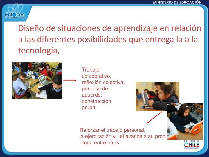 Diseño de situaciones de aprendizaje en relación a las diferentes posibilidades que entrega la a la tecnología,