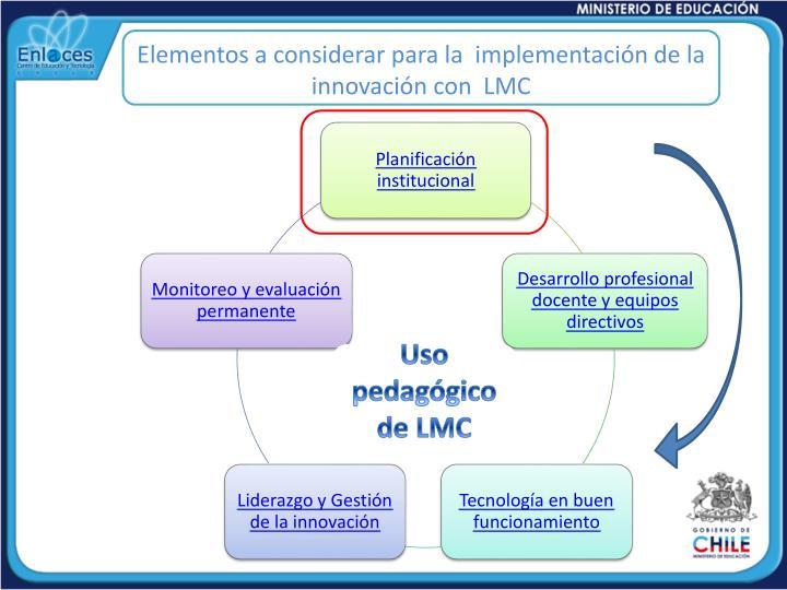 Elementos a considerar para la  implementación de la innovación con  LMC
