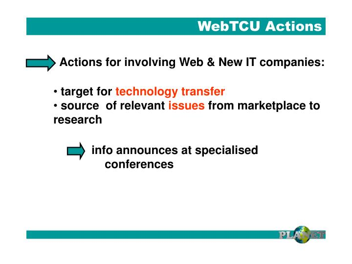 WebTCU Actions