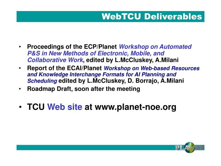 WebTCU Deliverables