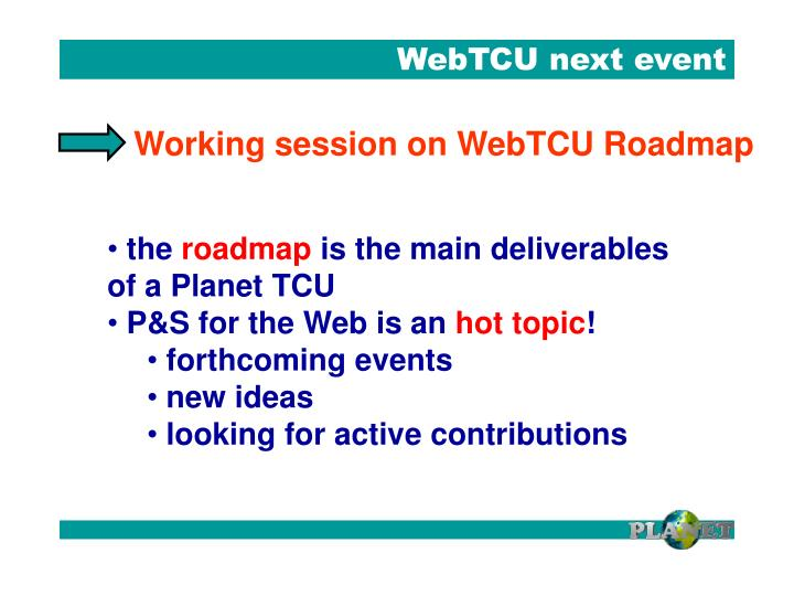 WebTCU next event