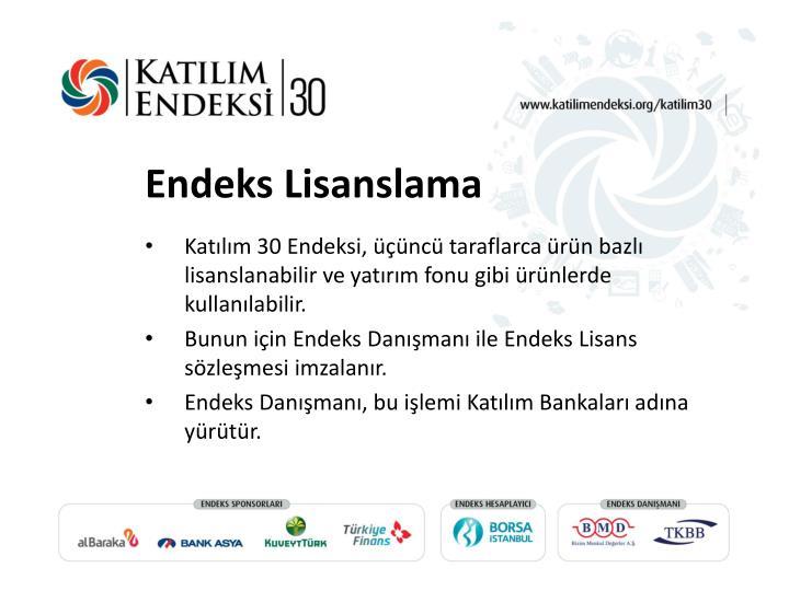 Katılım 30 Endeksi, üçüncü taraflarca ürün bazlı lisanslanabilir ve yatırım fonu gibi ürünlerde kullanılabilir.