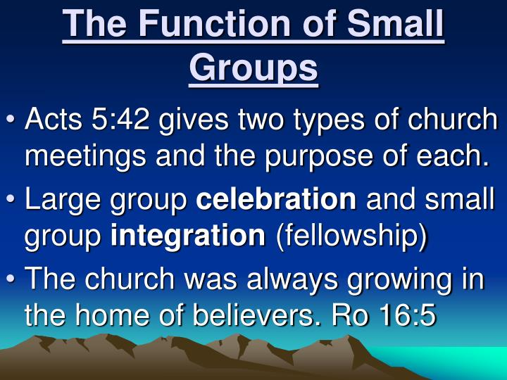 The Function of Small Groups