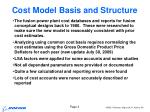 cost model basis and structure