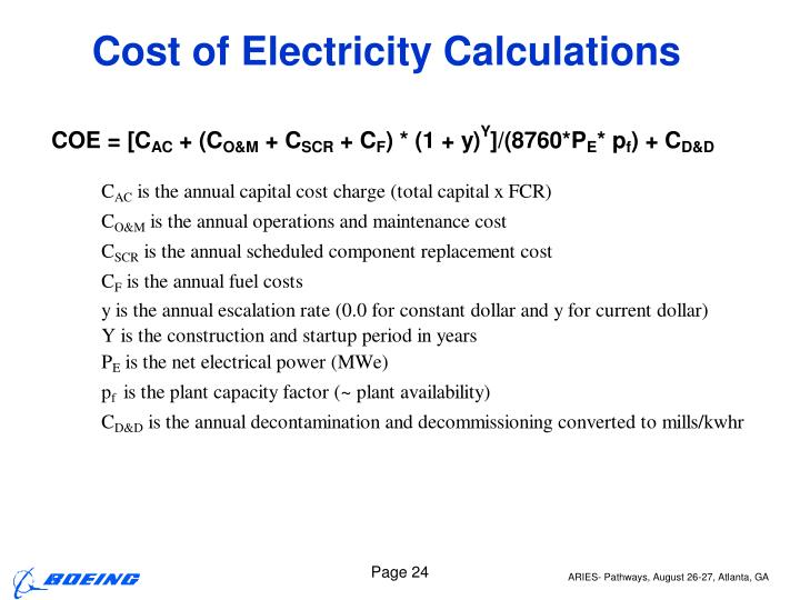 Cost of Electricity Calculations