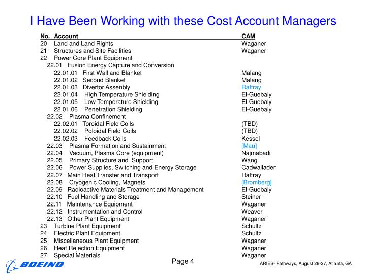 I Have Been Working with these Cost Account Managers