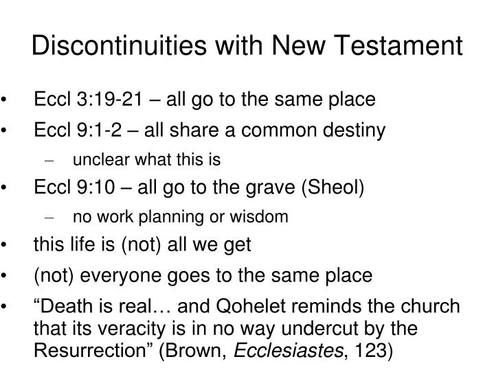 Discontinuities with New Testament