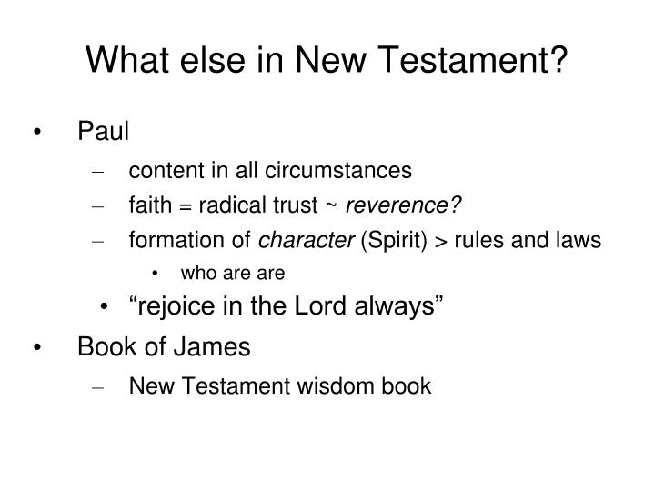 What else in New Testament?