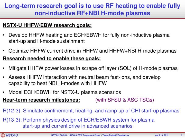 Long-term research goal is to use RF heating to enable fully non-inductive RF+NBI H-mode plasmas