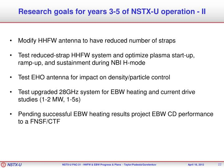 Research goals for years 3-5 of NSTX-U operation - II