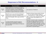 responses to pac recommendations ii