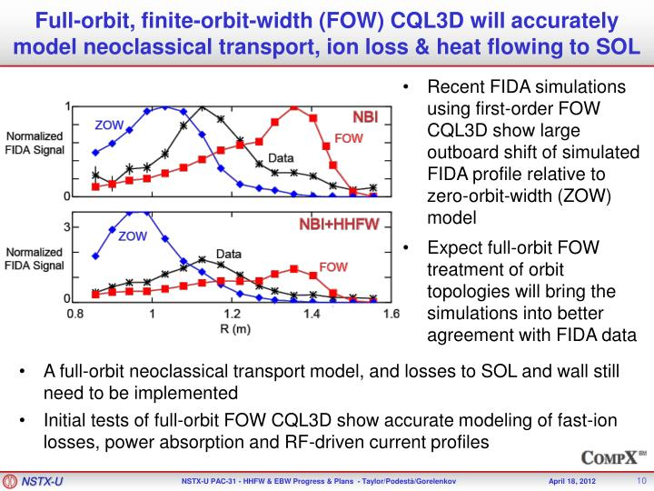 Full-orbit, finite-orbit-width (FOW) CQL3D will accurately model neoclassical transport, ion loss & heat flowing to SOL