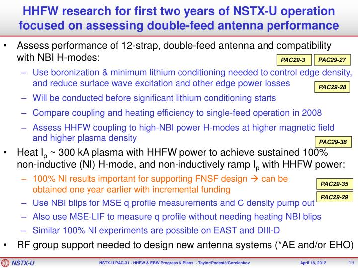 HHFW research for first two years of NSTX-U operation focused on assessing double-feed antenna performance