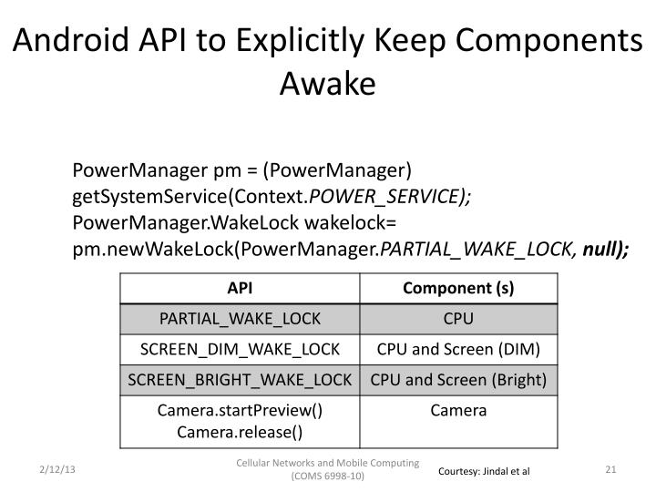 Android API to Explicitly Keep Components Awake