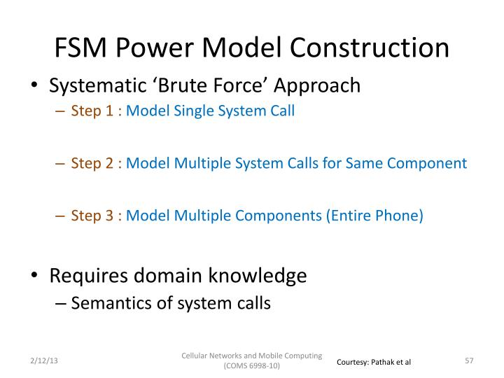 FSM Power Model Construction