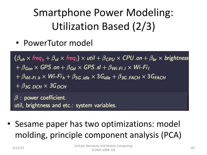Smartphone Power Modeling: Utilization Based