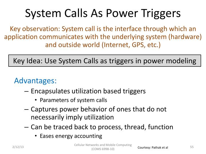 System Calls As Power Triggers