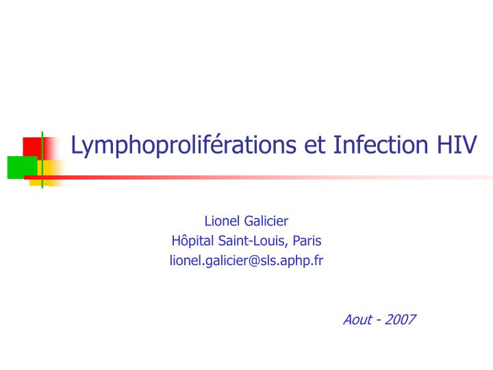 Lymphoprolif rations et infection hiv