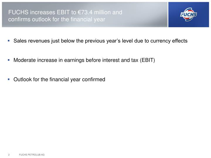 FUCHS increases EBIT to €73.4 million and confirms outlook for the financial year