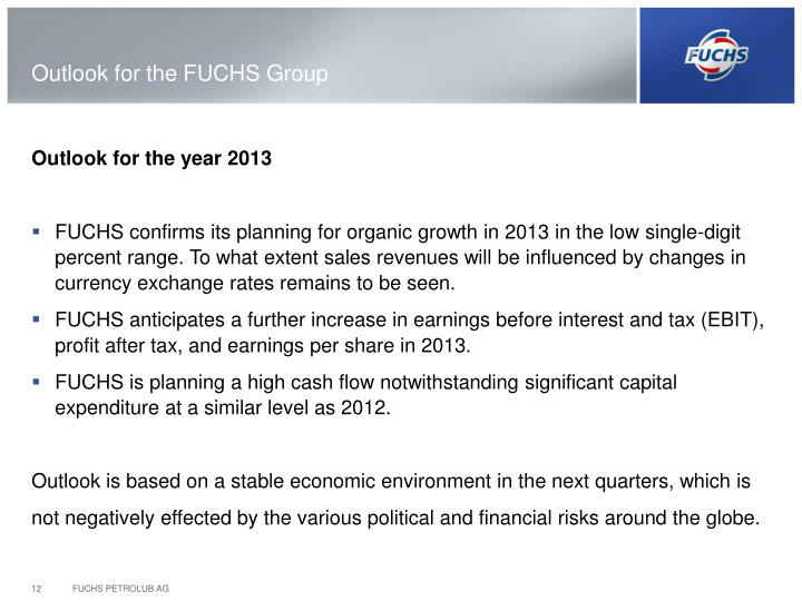 Outlook for the FUCHS Group
