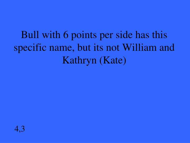 Bull with 6 points per side has this specific name, but its not William and Kathryn (Kate)