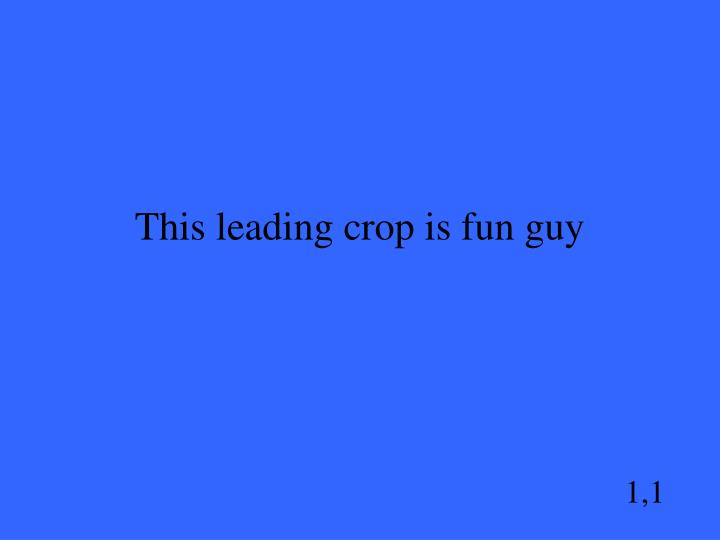 This leading crop is fun guy