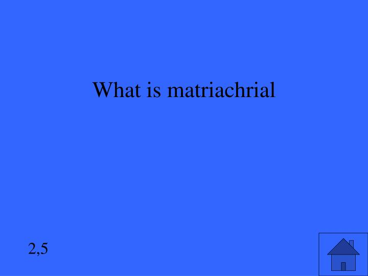 What is matriachrial