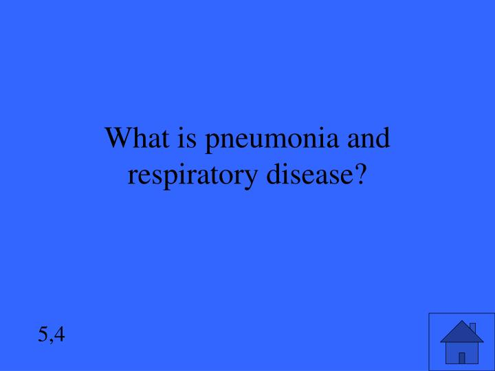 What is pneumonia and respiratory disease?