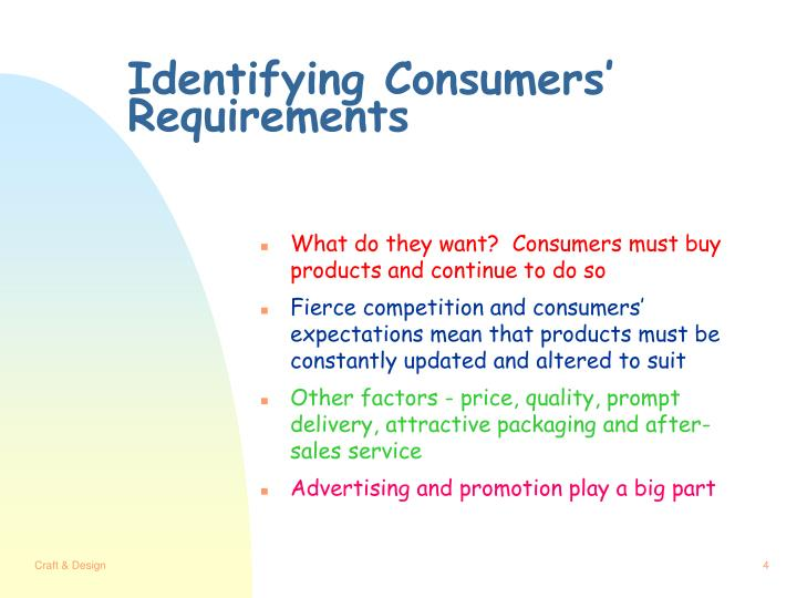Identifying Consumers' Requirements
