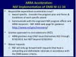 arra acceleration nsf implementation of omb m 11 34