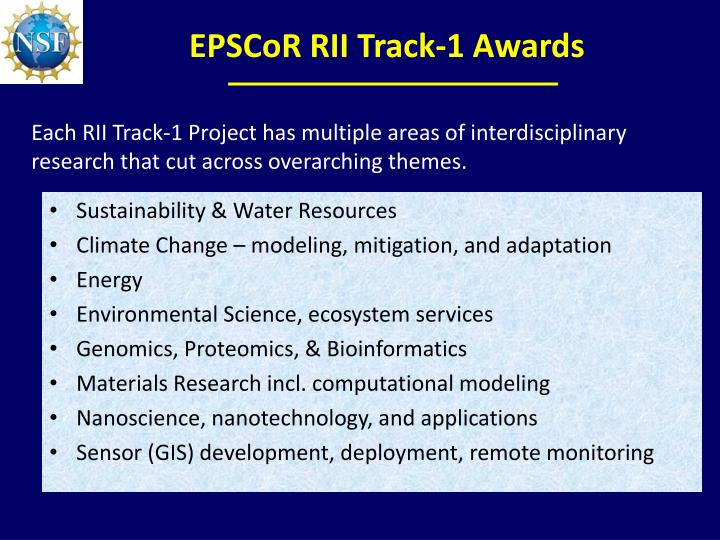 EPSCoR RII Track-1 Awards