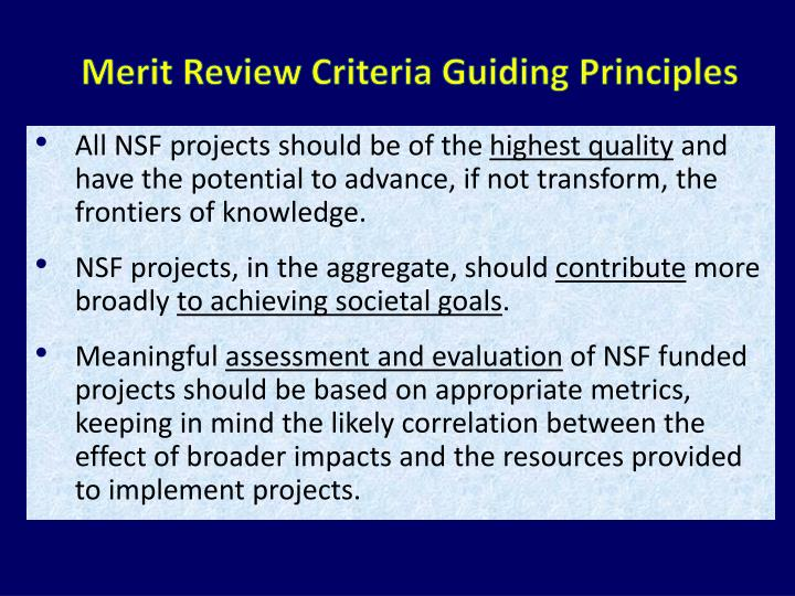 Merit Review Criteria Guiding Principles
