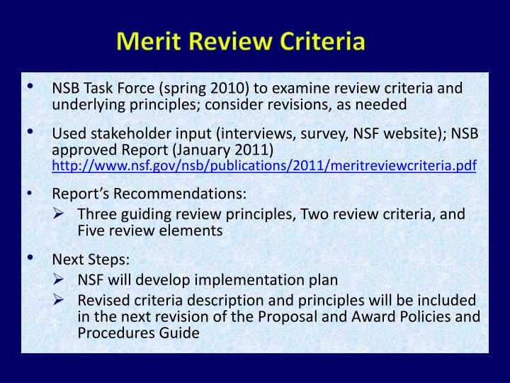 Merit Review Criteria