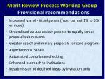 merit review process working group provisional recommendations