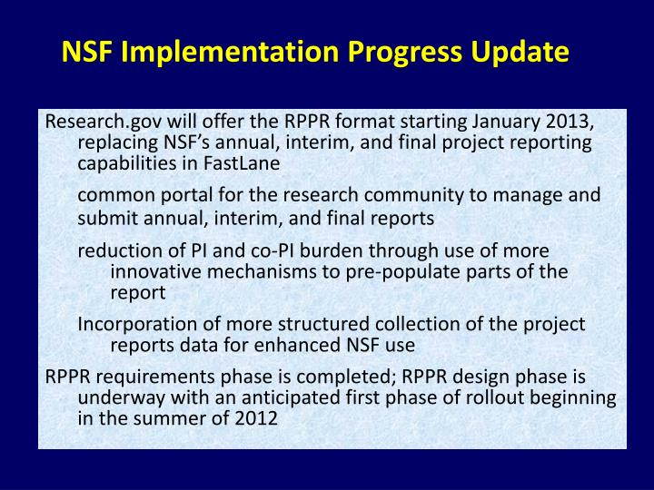 NSF Implementation Progress Update