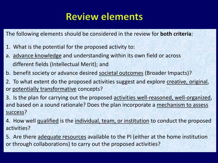 Review elements