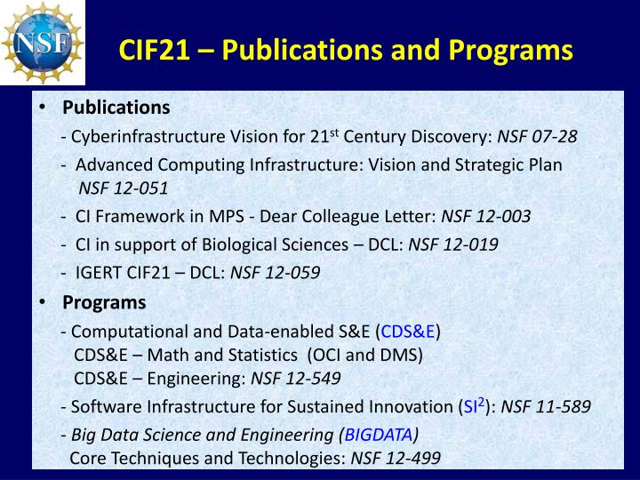 CIF21 – Publications and Programs
