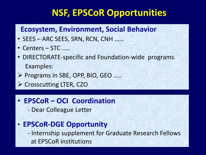 NSF, EPSCoR Opportunities