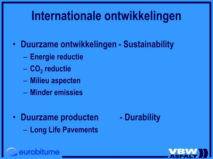 Internationale ontwikkelingen