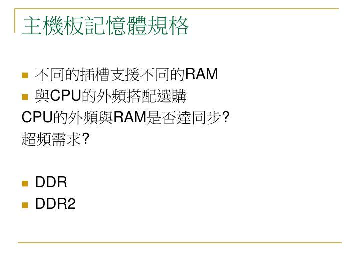 主機板記憶體規格