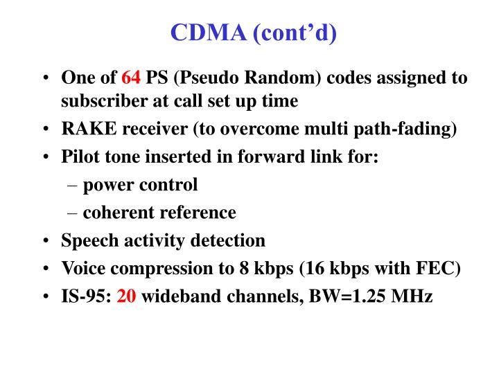 CDMA (cont'd)