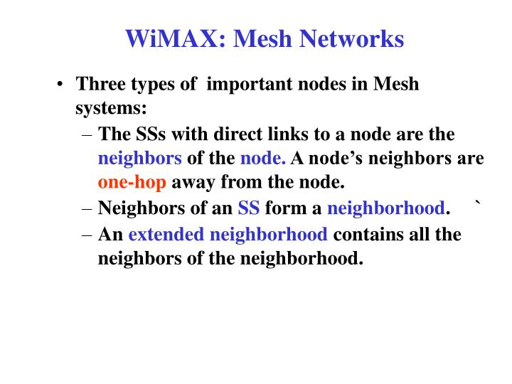 WiMAX: Mesh Networks