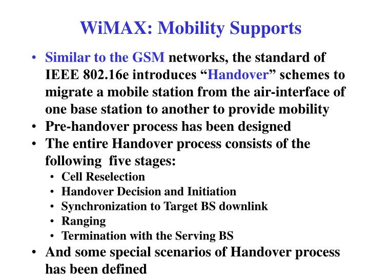 WiMAX: Mobility Supports