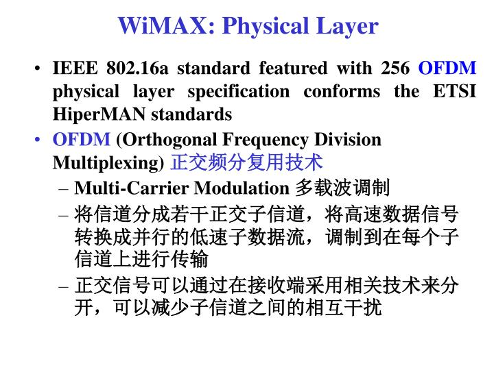 WiMAX: Physical Layer