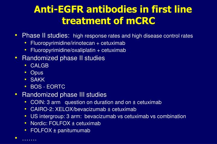 Anti-EGFR antibodies in first line treatment of mCRC